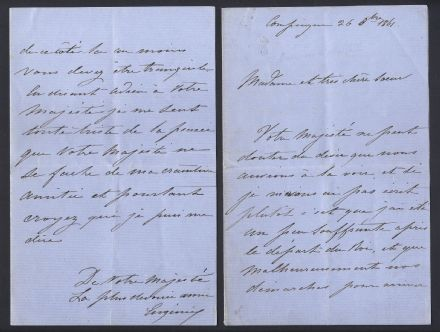 Eugénie de Montijo Empress of France Signed Letter to Queen Sophia of the Netherlands 1861